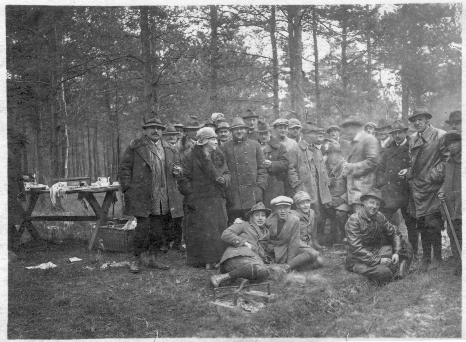 The Kraus family and their friends gather during an outing in the woods in prewar Czechoslovakia.  Among those pictured are Julius Kraus and his wife and their son Karel.