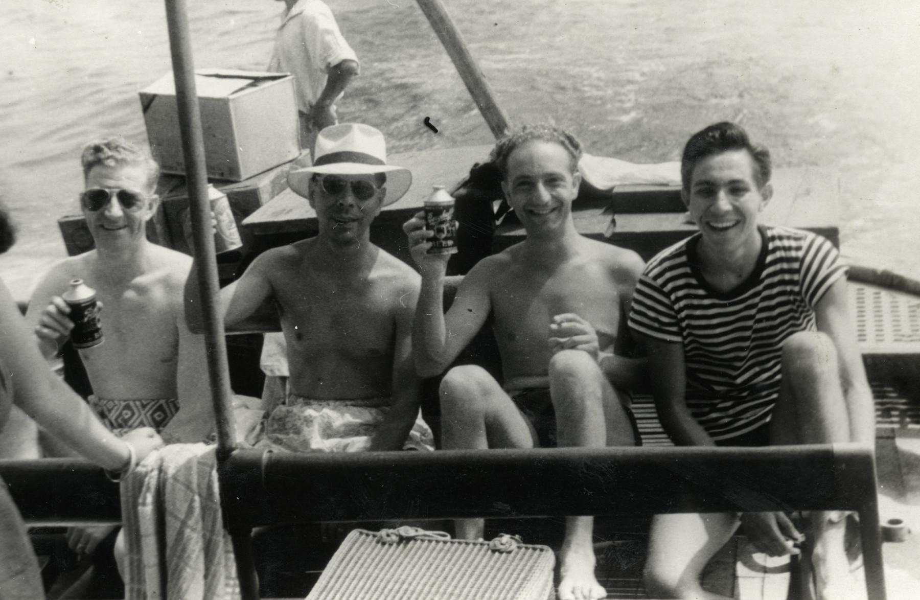 Kurt Marcus relaxes with his friends on a boat, probably in Japan.
