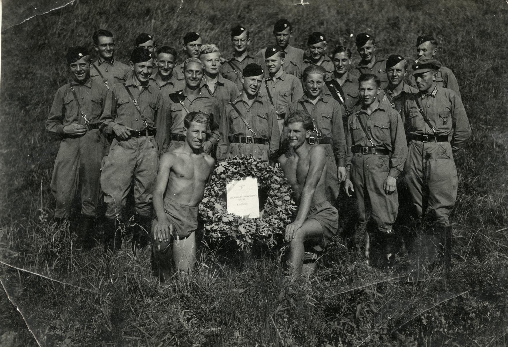 Kurt Markus participates in an Arbeitdienst work camp which was also a paramilitary organization.