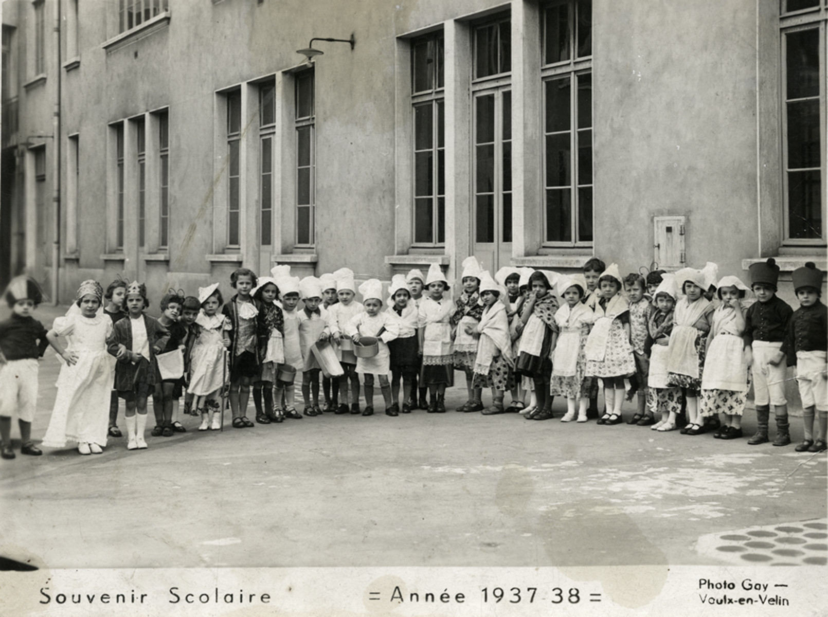 Children in an elementary school in Lyon pose in costume to celebrated Mardi Gras.