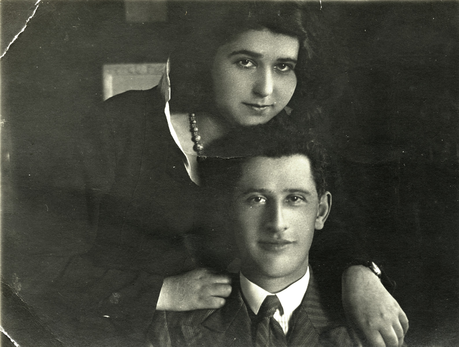 Close-up portrait of first cousins Chana and Pinchas Rudashevsky.