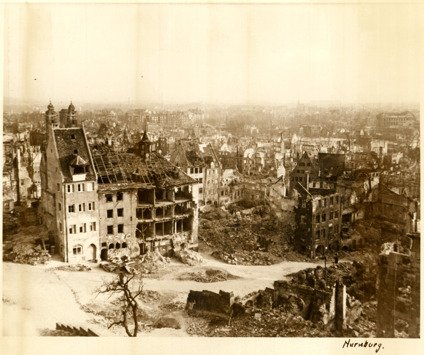 View of a bombed out street in Nuremberg.