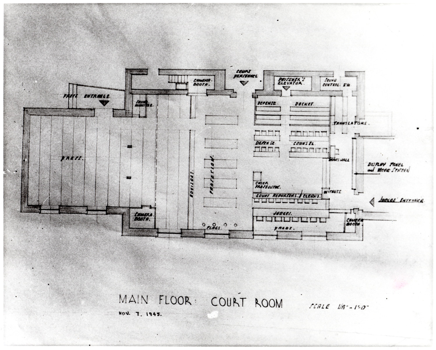 Floor plan of the court room of the Nuremberg Tribunal.