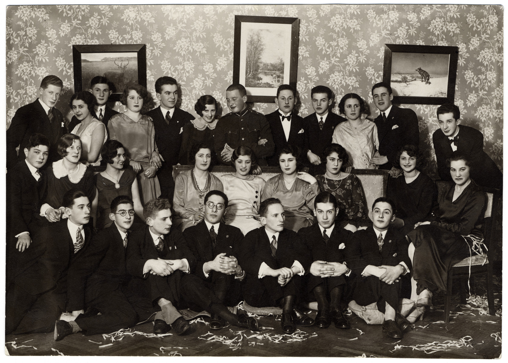 Prewar group portrait of young people celebrating the New Year in Riga, Lativa.