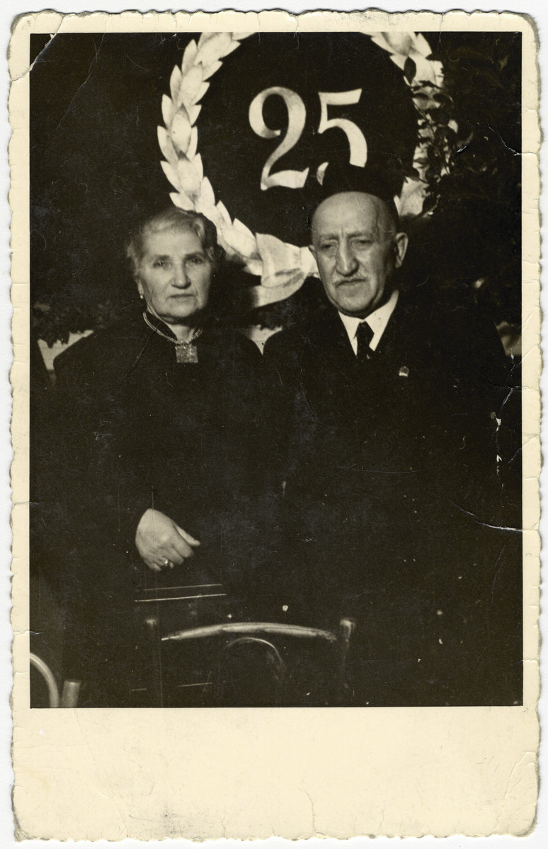 "Portrait of Bernard and Scheinde ('Jenny') Brenner during a 25th anniversary celebration honoring those in the Riga Jewish community who have supported the welfare association ""Malbish Arumim."""