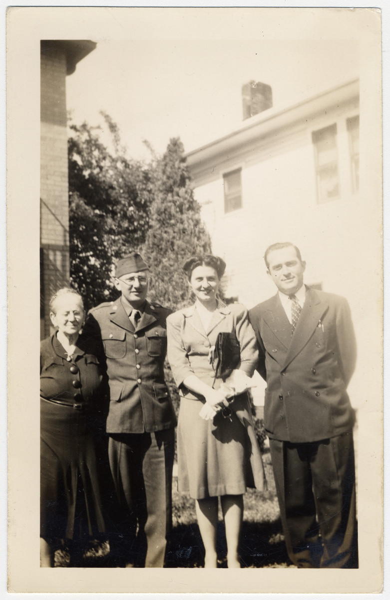 Group portrait of Sophie Frank, Ernest Lowe (Loewy) and Pearl (nee Frank) and Louis Binder.