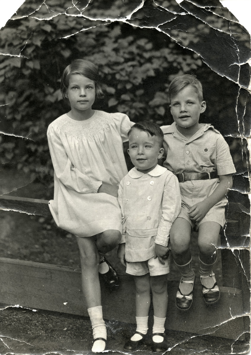 Studio portrait of the three Joshua siblings.  From left to right are Karin, Henry, and Jacob.