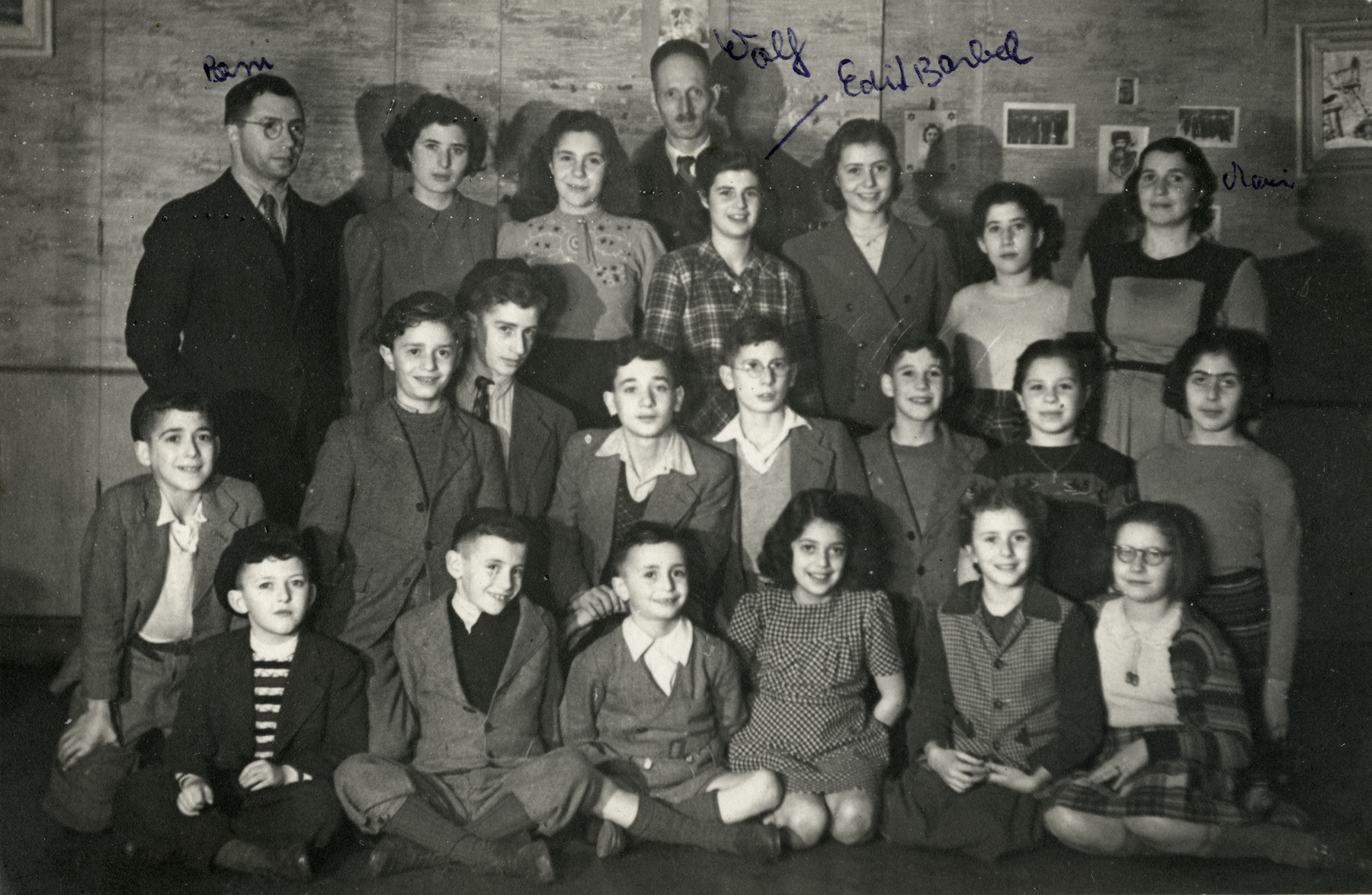Group portrait of the children in the Birnbaum postwar orphanage.