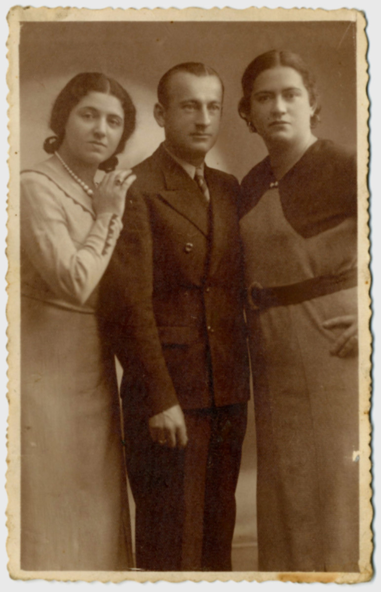 Prewar studio portrait of the three Laudon siblings in Bedzin, Poland.  From left to right are Cyla Laudon, Wolf Laudon and Rywka Laudon Goldzweig.