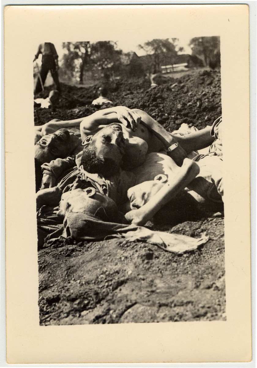 Close-up view of a pile of corpses awaiting burial in the Mauthausen concentration camp.