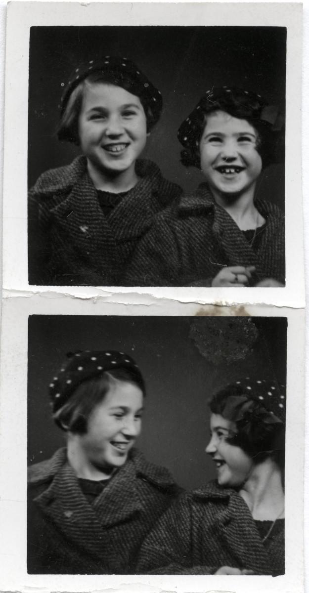 Two photographs of Norwegian Jewish sisters, Berit and Celia Century.