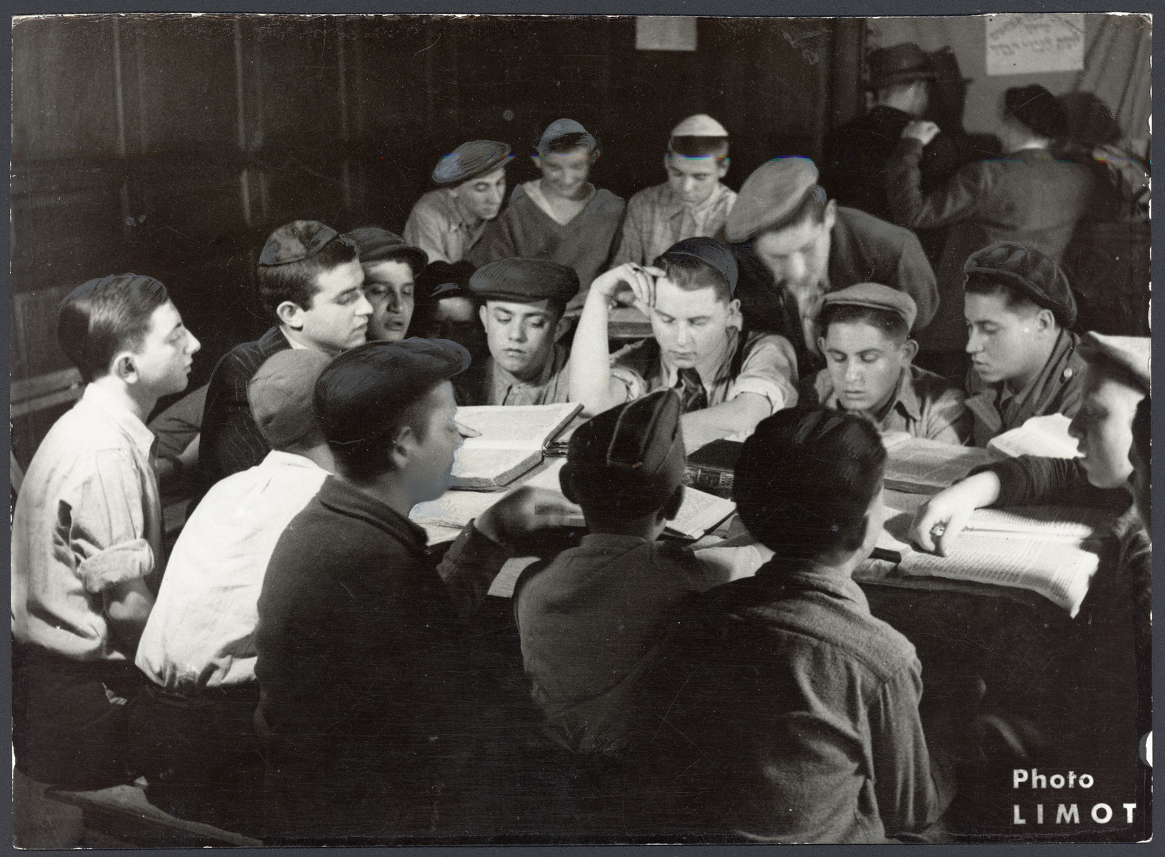 Orthodox teenagers study religious texts in an OSE postwar children's home in France [probably Taverny].