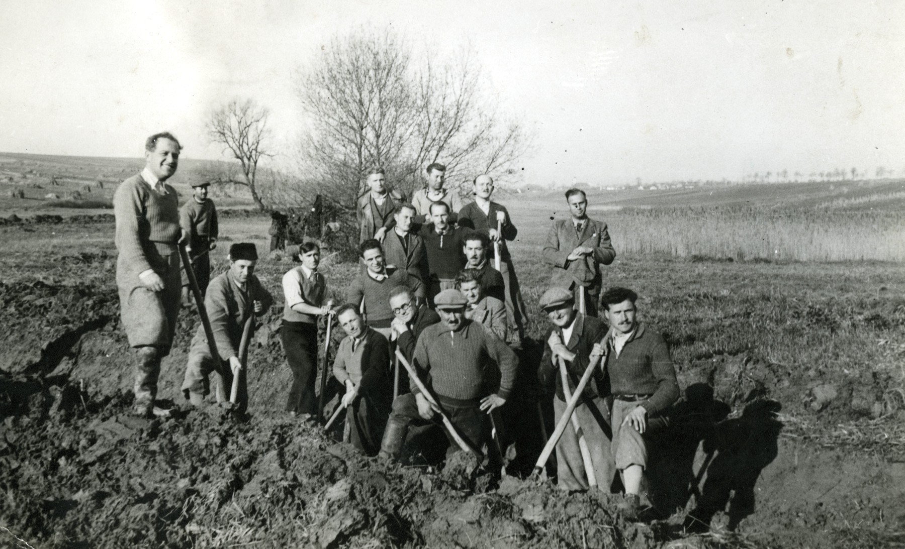 A forced labor battalion works on the western border of Hungary in 1942.  Pal Breuer is standing at the very left of the photo. Also pictured is Janos Neumann, in the middle of the first row.  He went missing on the Russian front during the  retreat of the Hungarian army in December 1942.