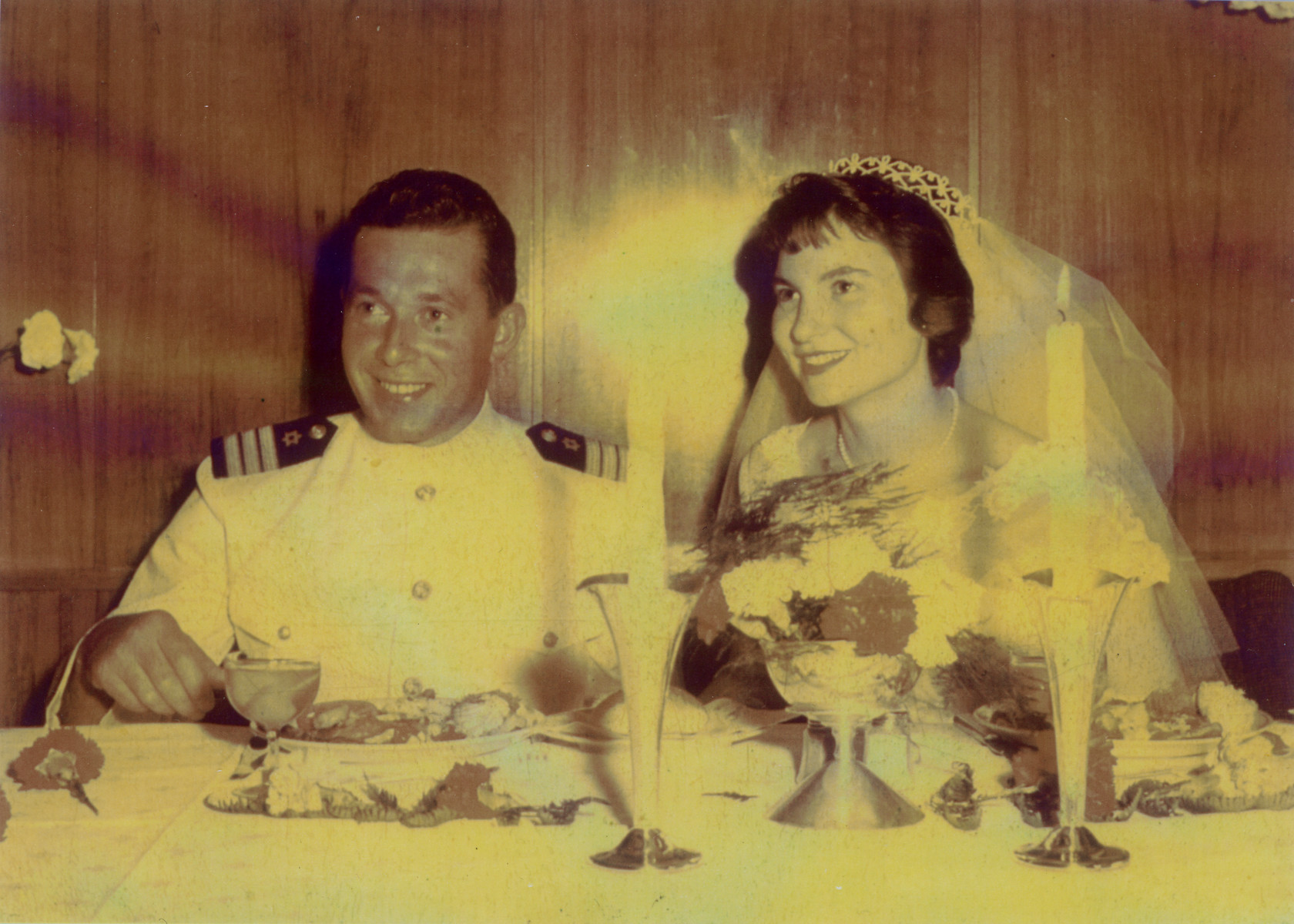 Wedding portrait of Freddie Traum and Josiane Aizenberg on board the Zion, a ZIM line vessel.