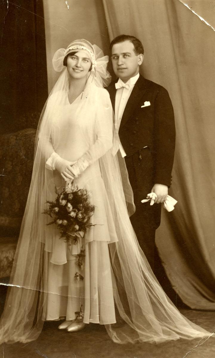 Wedding portrait of Pal Breuer and Elizabeth Hacker.
