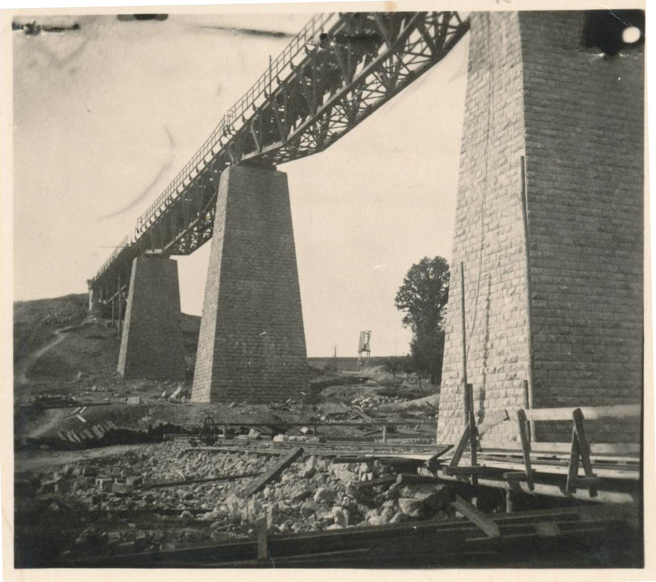 View of the bridge in Hanushovce built by Jewish forced laborers.
