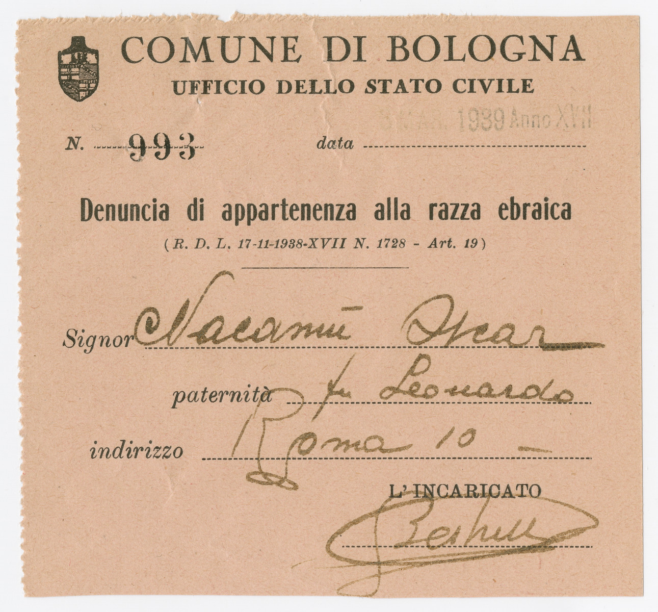 Document issued by the authorities of Bologna stating that Oscar Nacamu is a member of the Jewish race.
