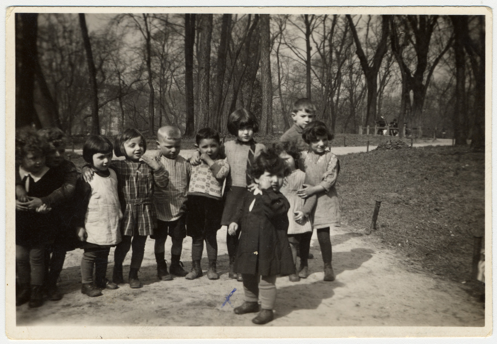 Group portrait of young children in a nursery school in Mannheim Germany.  Pictured in front is Margot Kalberman.