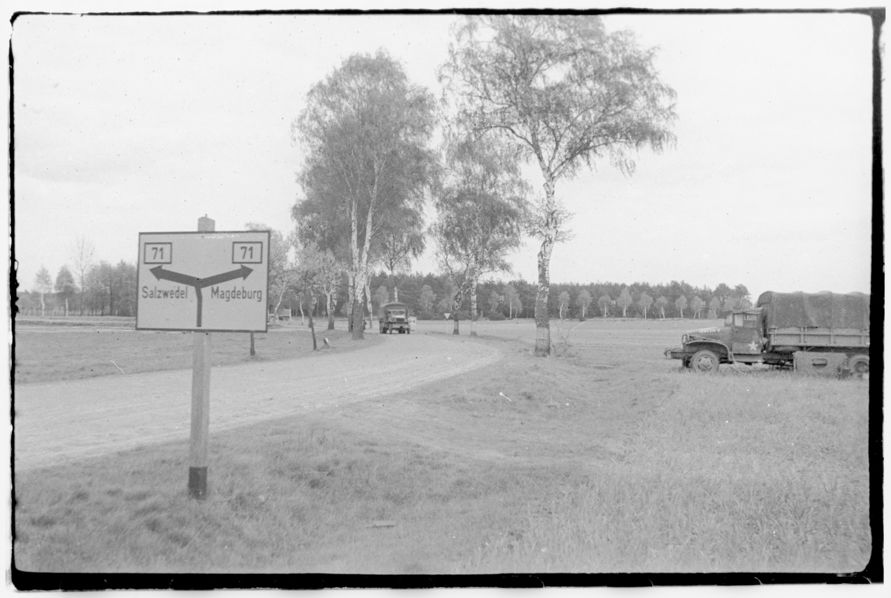US Army Officers From The 91st Evacuation Hospital Unit Drive On Road Between Salzwedel And