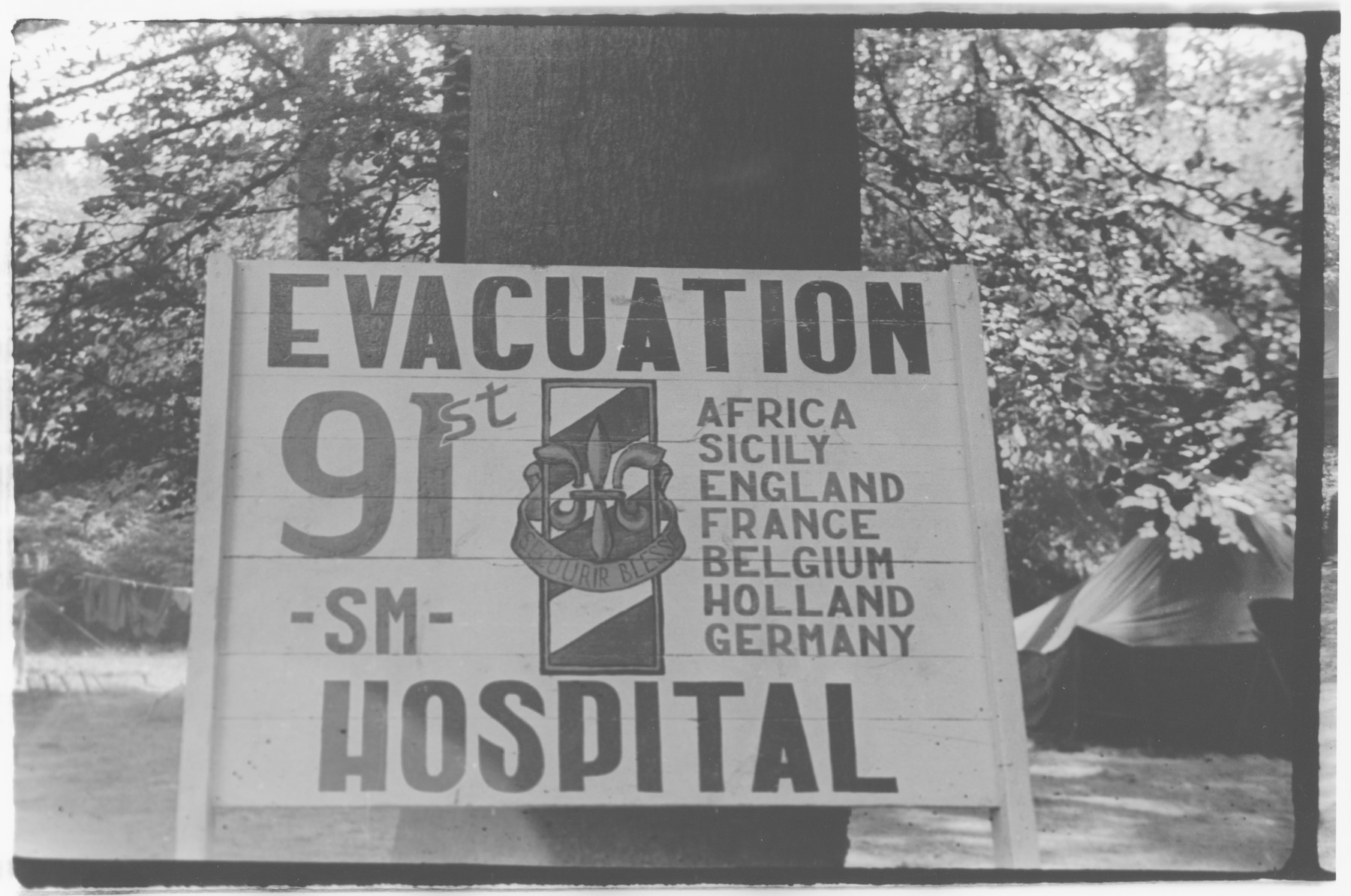 A sign for the the 91st Evacuation Hospital Unit.