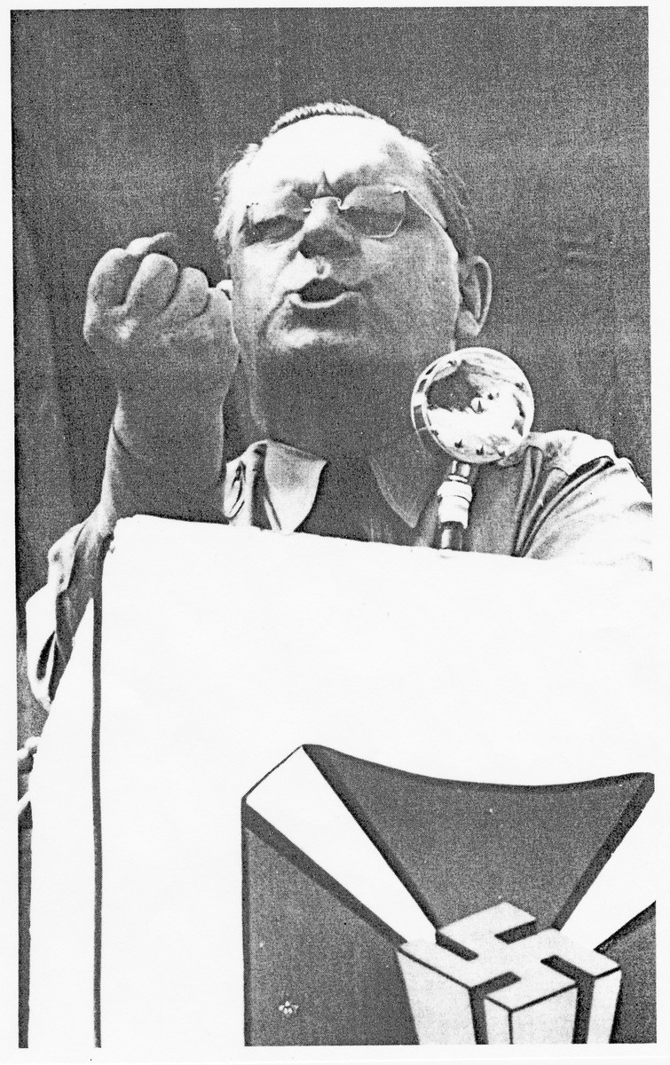 A close-up of Fritz Kuhn, leader of the German- American Bund, speaking at a rally.
