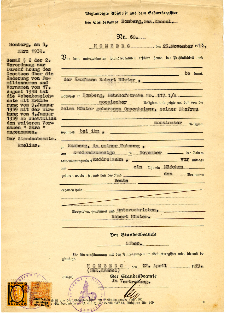 """Birth certificate reissued to Selma Hoexter on April 12, 1939 with Nazi seals on the bottom.  On the side of the certificate is an addendum that as of January 1939 her middle name is now """"Sara""""."""