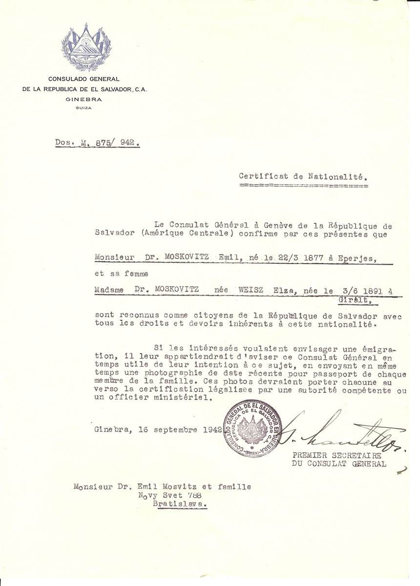 Unauthorized Salvadoran citizenship certificate issued to Emil Moskovitz (b. March 22, 1877 in Eperjes) and his wife Elza (Weisz) Moskovitz (b. June 3, 1891 in Giralt), by George Mandel-Mantello, First Secretary of the Salvadoran Consulate in Switzerland and sent to their residence in Bratislava.