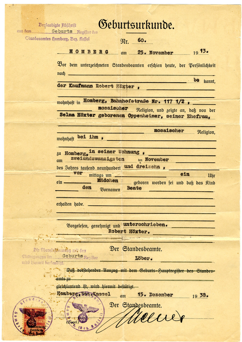 Birth certificate issued to Selma Hoexter on December 15, 1938 with Nazi seals on the bottom.