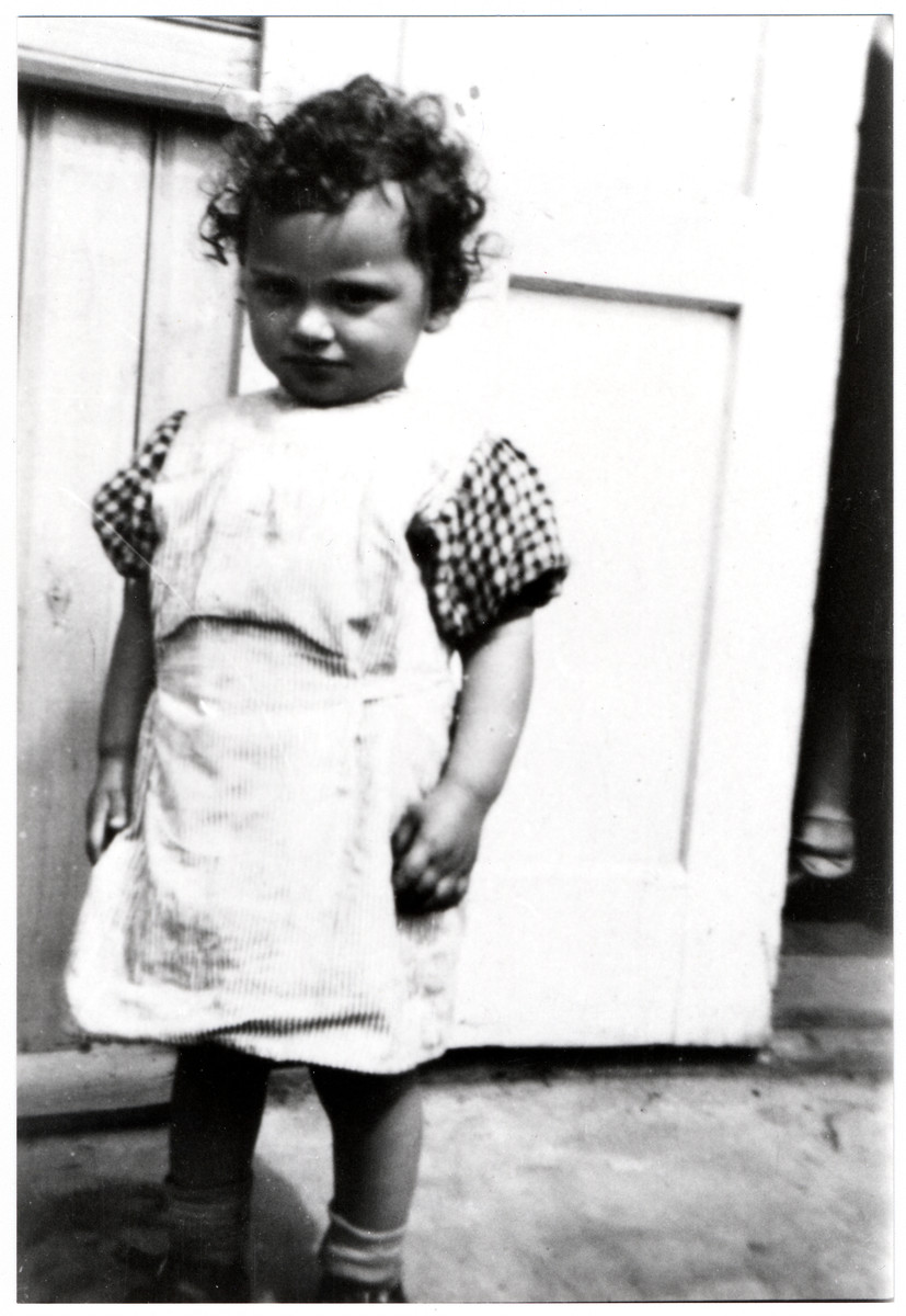Close-up of Henye Rosenbaum, a young child who perished in the Holocaust.