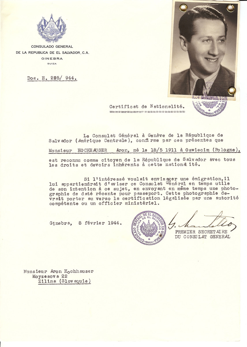 Unauthorized Salvadoran citizenship certificate issued to Aron Hochhauser (b. May18, 1911 in Oswiecim), by George Mandel-Mantello, First Secretary of the Salvadoran Consulate in Switzerland and sent to his residence in Zilina.