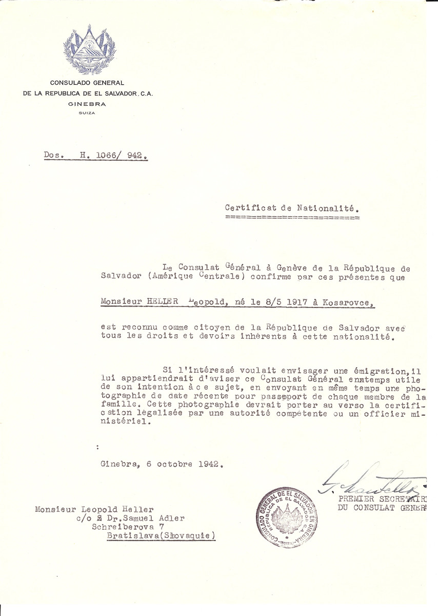Unauthorized Salvadoran citizenship certificate issued to Leopold Helier (b. May 8, 1917 in Kosarovce), by George Mandel-Mantello, First Secretary of the Salvadoran Consulate in Switzerland and sent to his residence in Bratislava.