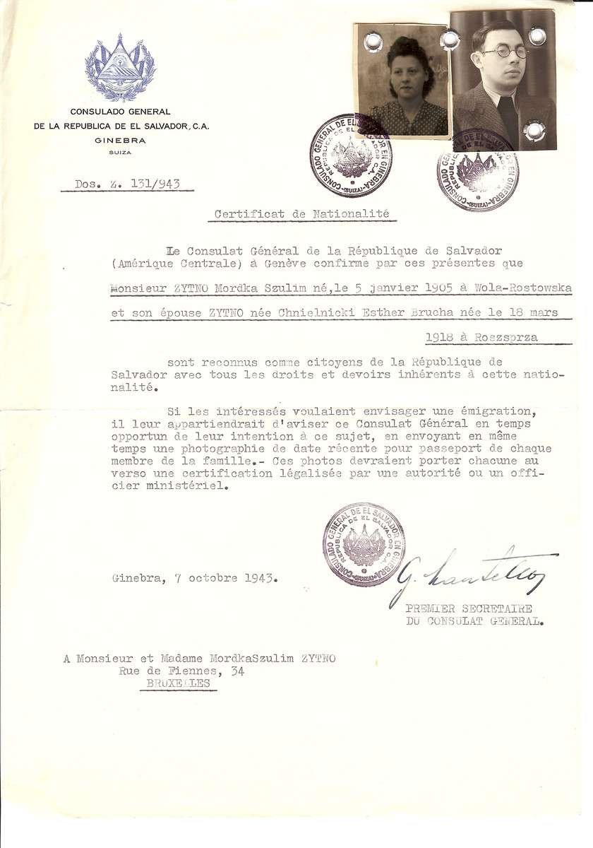 Unauthorized Salvadoran citizenship certificate issued to Mordka Szulim Zytno (b. January 5, 1905 in Wola-Rostowska) and his wife Esther Brucha (nee Chnielnicki) Zytno (b. March 18, 1918 in Roszprza) by George Mandel-Mantello, First Secretary of the Salvadoran Consulate in Switzerland, and sent to their residence in Brusels.