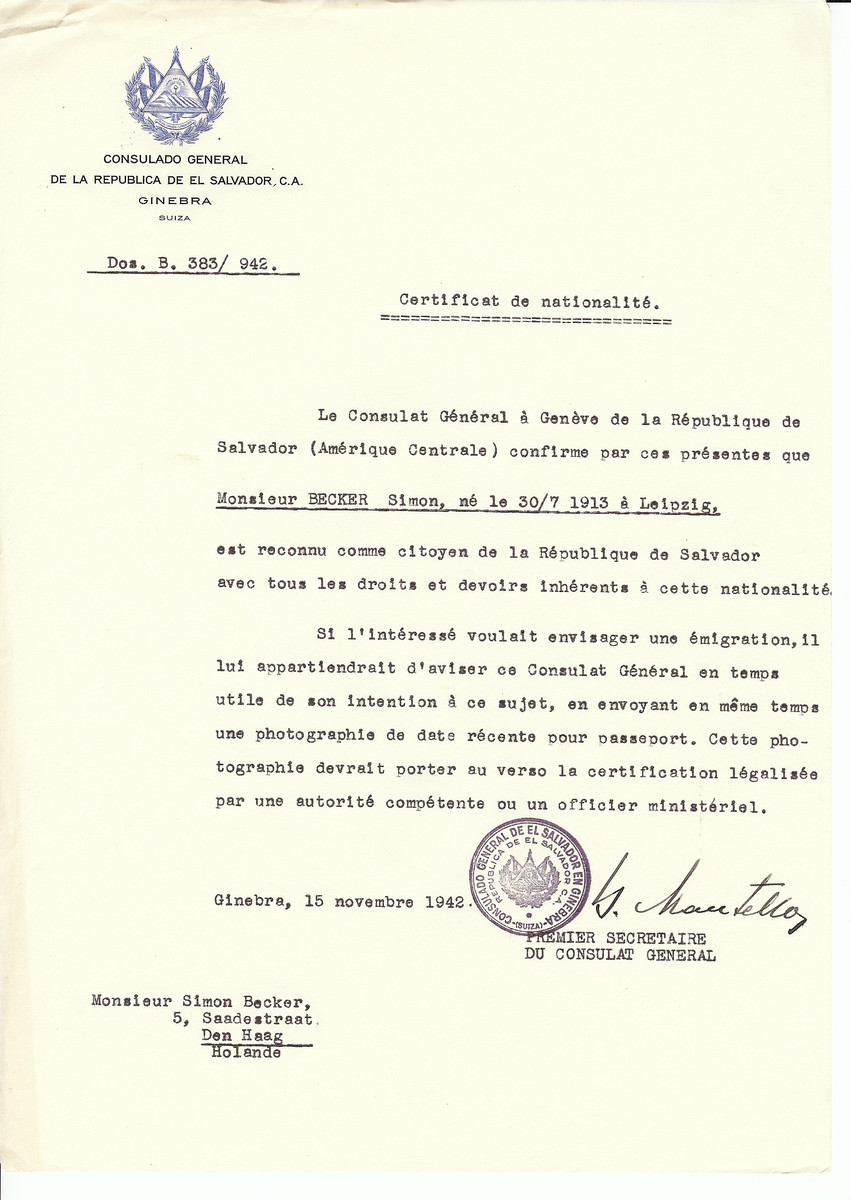 Unauthorized Salvadoran citizenship certificate issued to Simon Becker (b. July 30, 1913 in Leipzig) by George Mandel-Mantello, First Secretary of the Salvadoran Consulate in Switzerland, and sent to his residence in The Hague.  Simon Becker immigrated to Palestine.