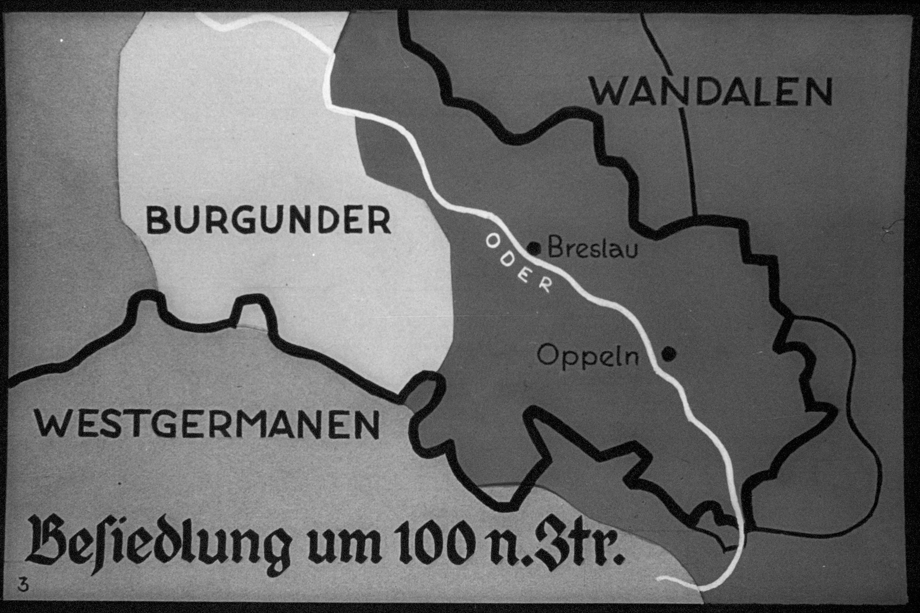 """5th Nazi propaganda slide from Hitler Youth educational material titled """"Border Land Upper Silesia.""""  Besiedlung um 100 n.Ztr. // Colonization by 100 n.Ztr."""