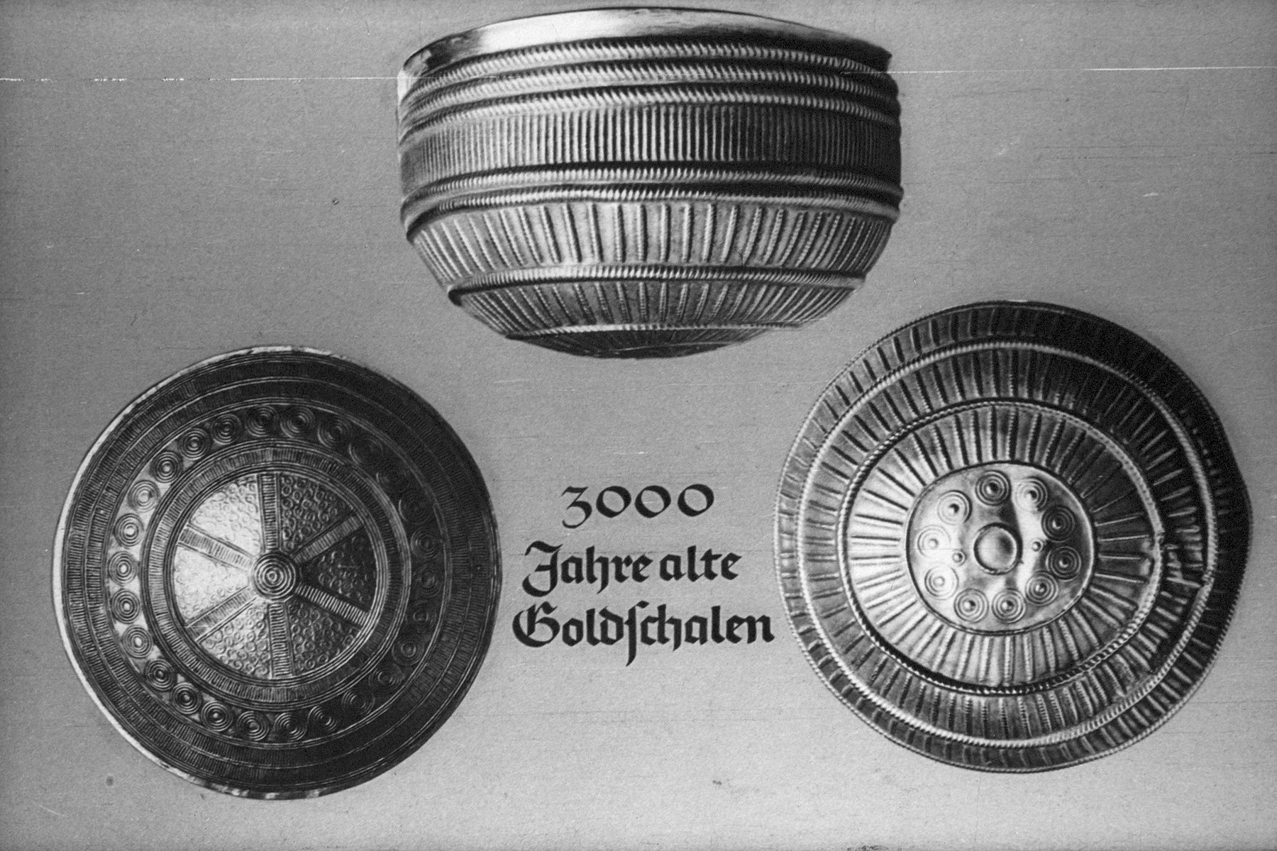 """18th Nazi propaganda slide for a Hitler Youth educational presentation entitled """"5000 years of German Culture.""""  3000 Jahre alte Goldschalen // 3000 year old gold dishes/bowls"""