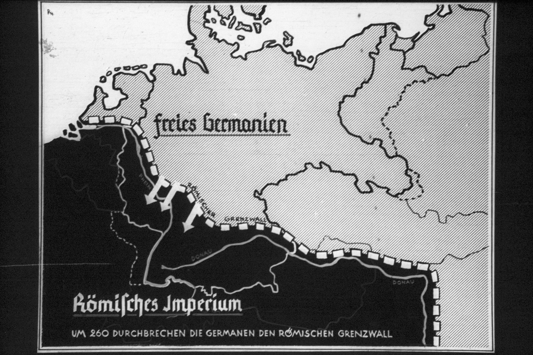 """26th Nazi propaganda slide for a Hitler Youth educational presentation entitled """"5000 years of German Culture.""""  Freies Bermanien Kömisches Imperium // Free Germany (German Imperium) Roman Empire"""