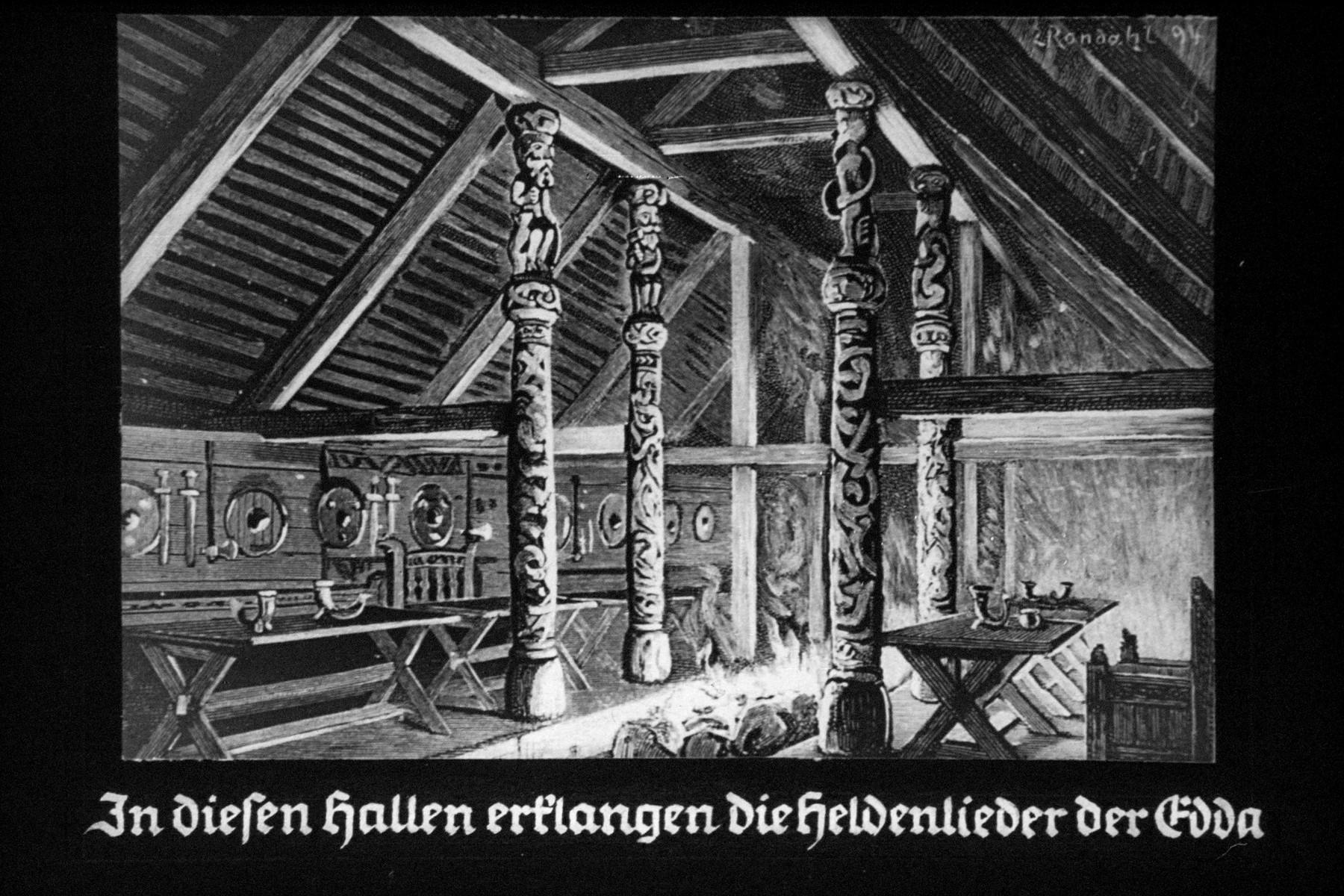 "36th Nazi propaganda slide for a Hitler Youth educational presentation entitled ""5000 years of German Culture.""  In diesen Hallen erklangen die Heldenlieder der Edda // The these halls rang the heroic songs of Edda."