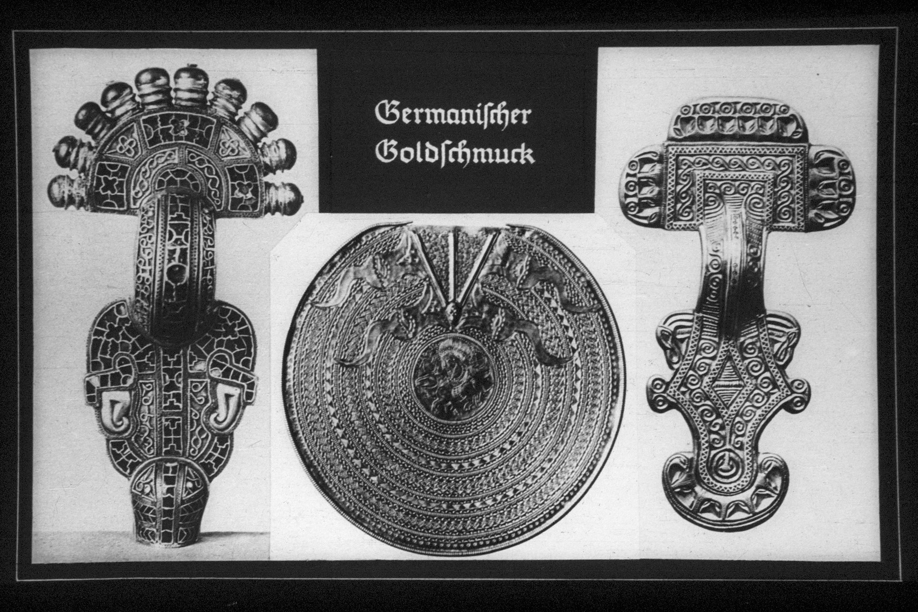 "33rd Nazi propaganda slide for a Hitler Youth educational presentation entitled ""5000 years of German Culture.""  Germanischer Goldschmuck // Germanic Gold Jewelry"