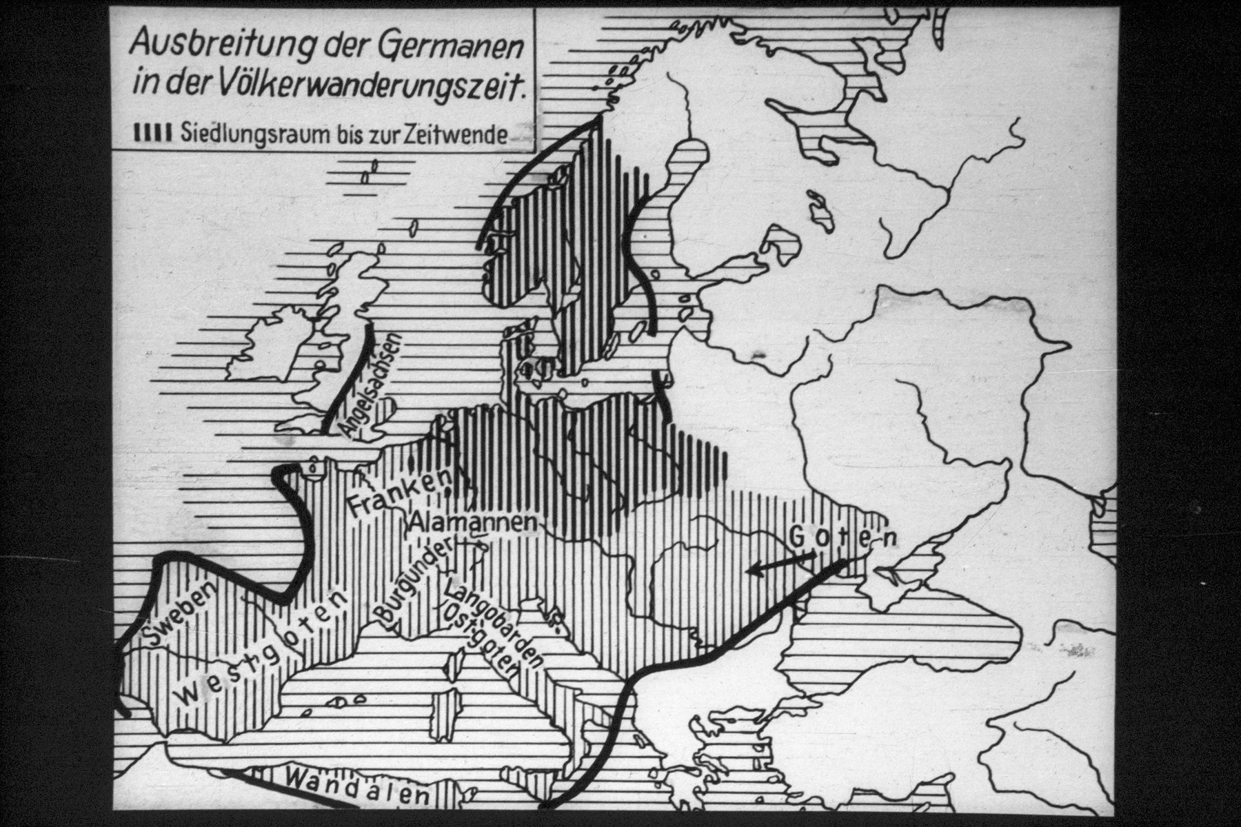 "29th Nazi propaganda slide for a Hitler Youth educational presentation entitled ""5000 years of German Culture.""  Ausbreitung der Germanen in der Völkerwanderungszeit. Siedlungsraum bis zur Zeitwende. // Spread of the Germans in the migration period. Settlement to the time change."