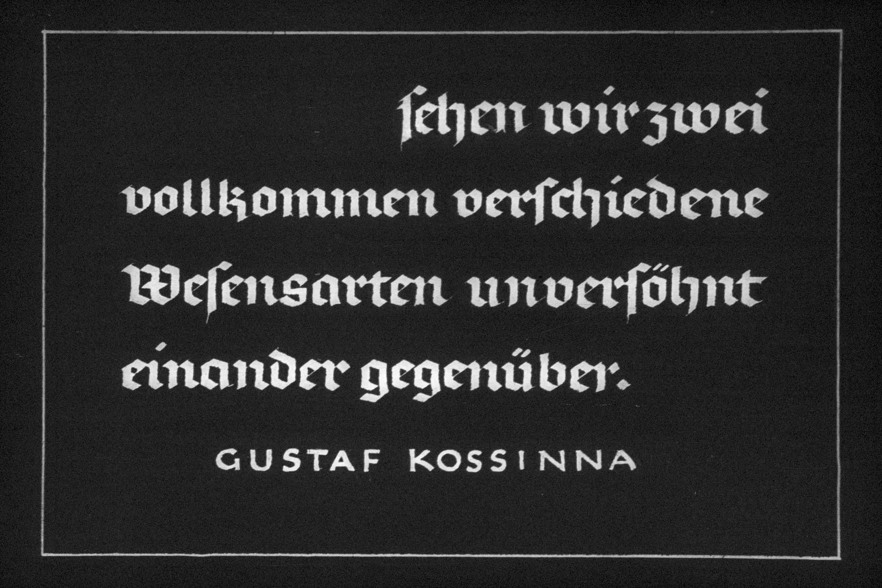 "28th Nazi propaganda slide for a Hitler Youth educational presentation entitled ""5000 years of German Culture.""  Sehen wir zwei vollkommen verschiedene Wesensarten unversähnt einander gegenüber.- Gustaf Kossinna // Let us see two completely different natures face each other.-Gustaf Kossinna"