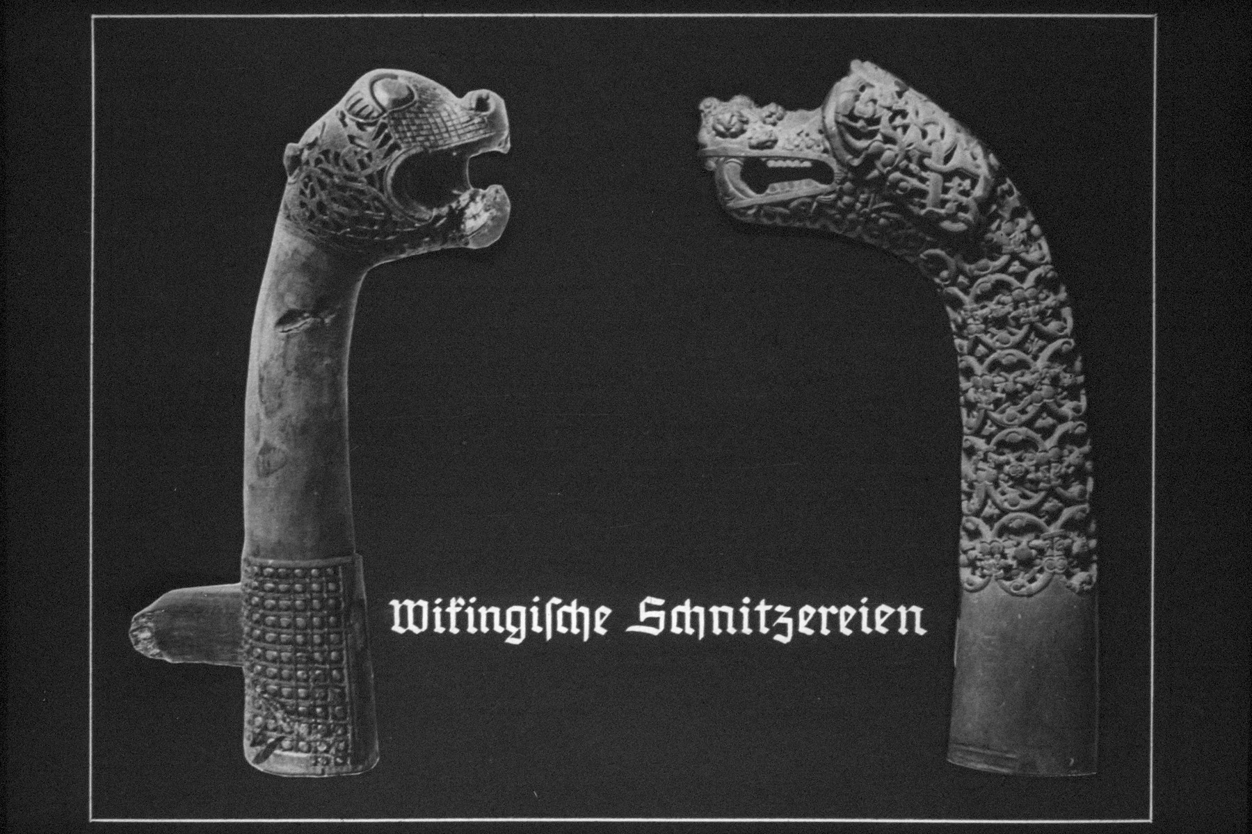"35th Nazi propaganda slide for a Hitler Youth educational presentation entitled ""5000 years of German Culture.""  Wikingische Schnitzereien // Viking carvings"