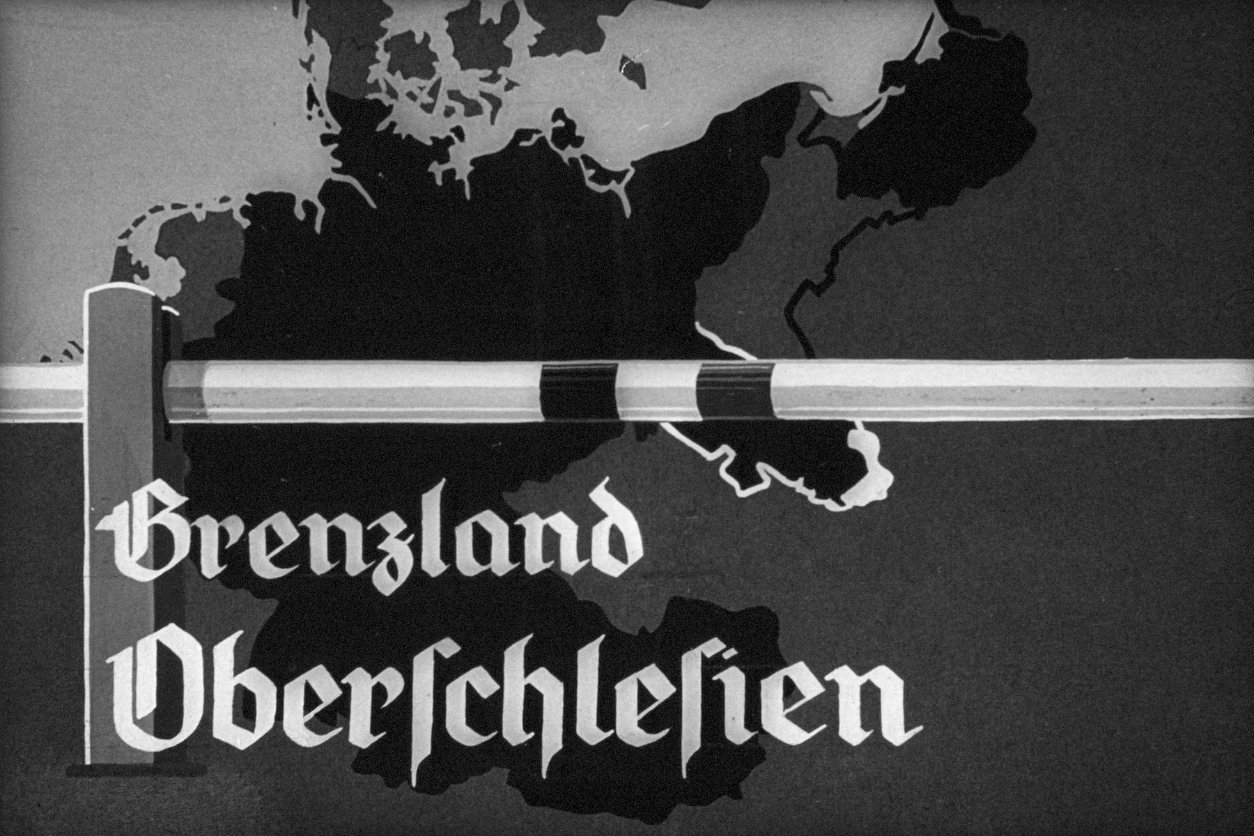 "2nd Nazi propaganda slide from Hitler Youth educational material titled ""Border Land Upper Silesia.""  Grenzland Oberschlesien // Border of Upper Silesia"