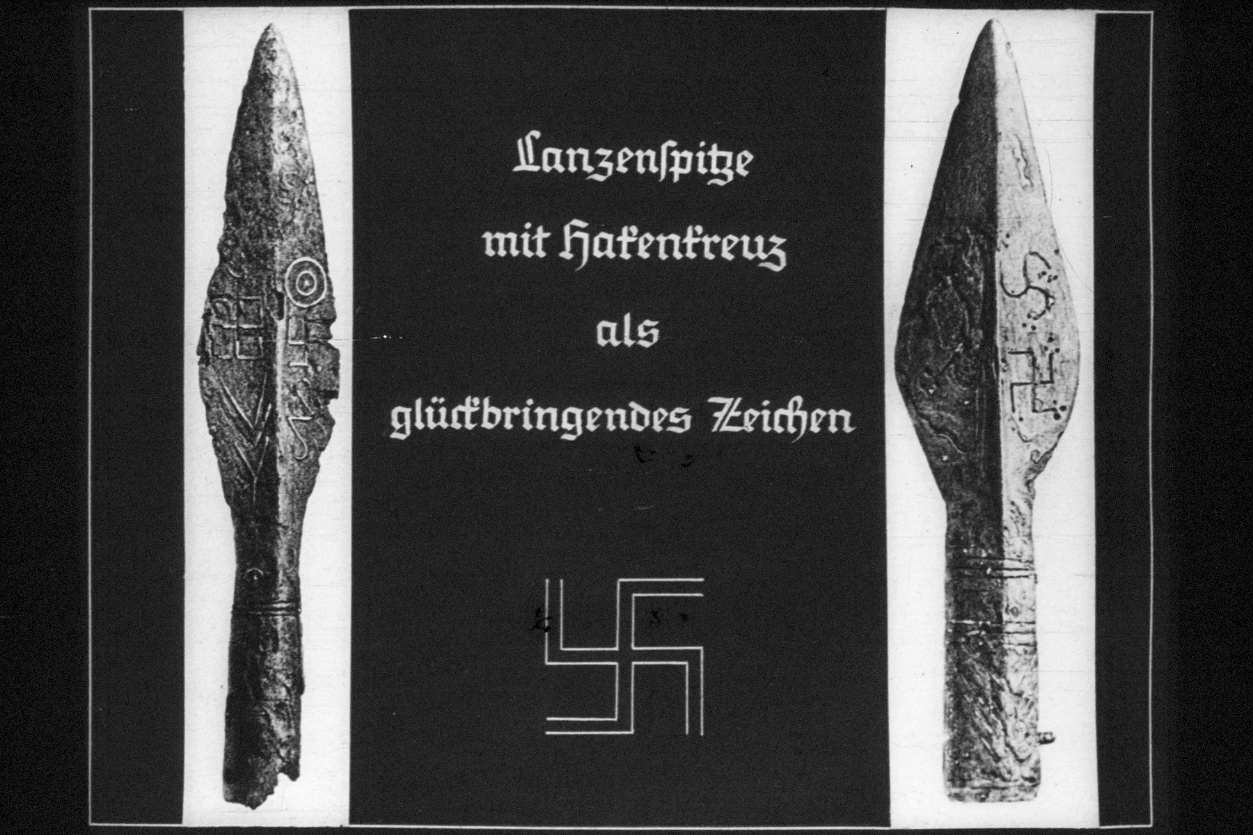 "23rd Nazi propaganda slide for a Hitler Youth educational presentation entitled ""5000 years of German Culture.""  Lanzenspitze mit hatentreuz als glückbringendes Zeichen // Spear with swastika as an auspicious sign."