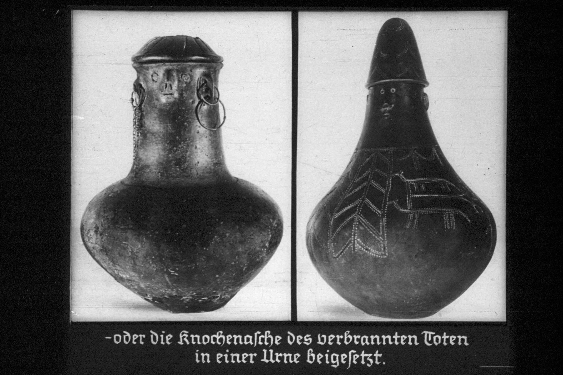 "21th Nazi propaganda slide for a Hitler Youth educational presentation entitled ""5000 years of German Culture.""  oder die Knochesche des verbrannten Toten in einer Urne beigesetzt. // Or the bone-ashes of the burnt dead buried in an urn."