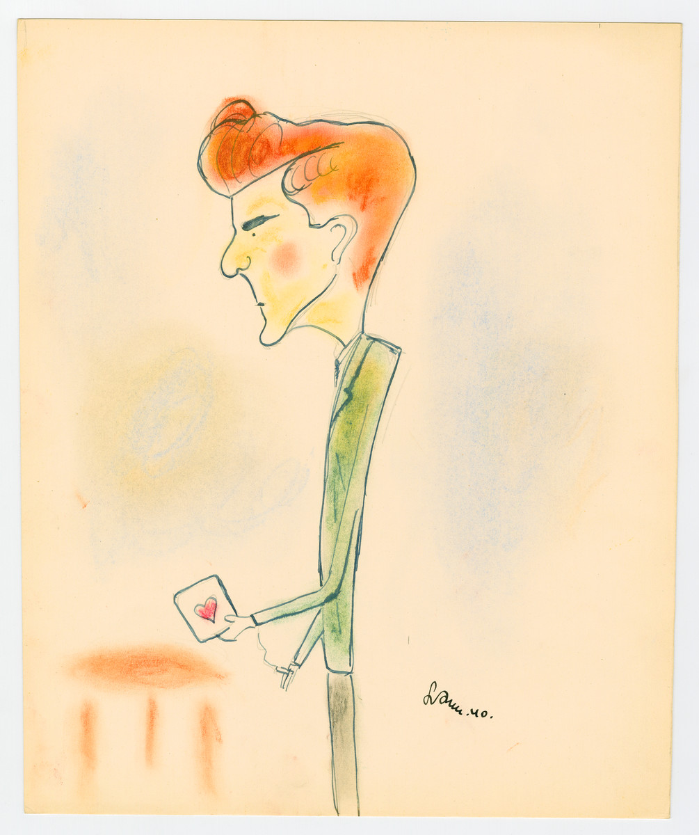 "Caricature by Lutek Orenbach of Ignas K.  Lutek notes ""a good bridge player."""