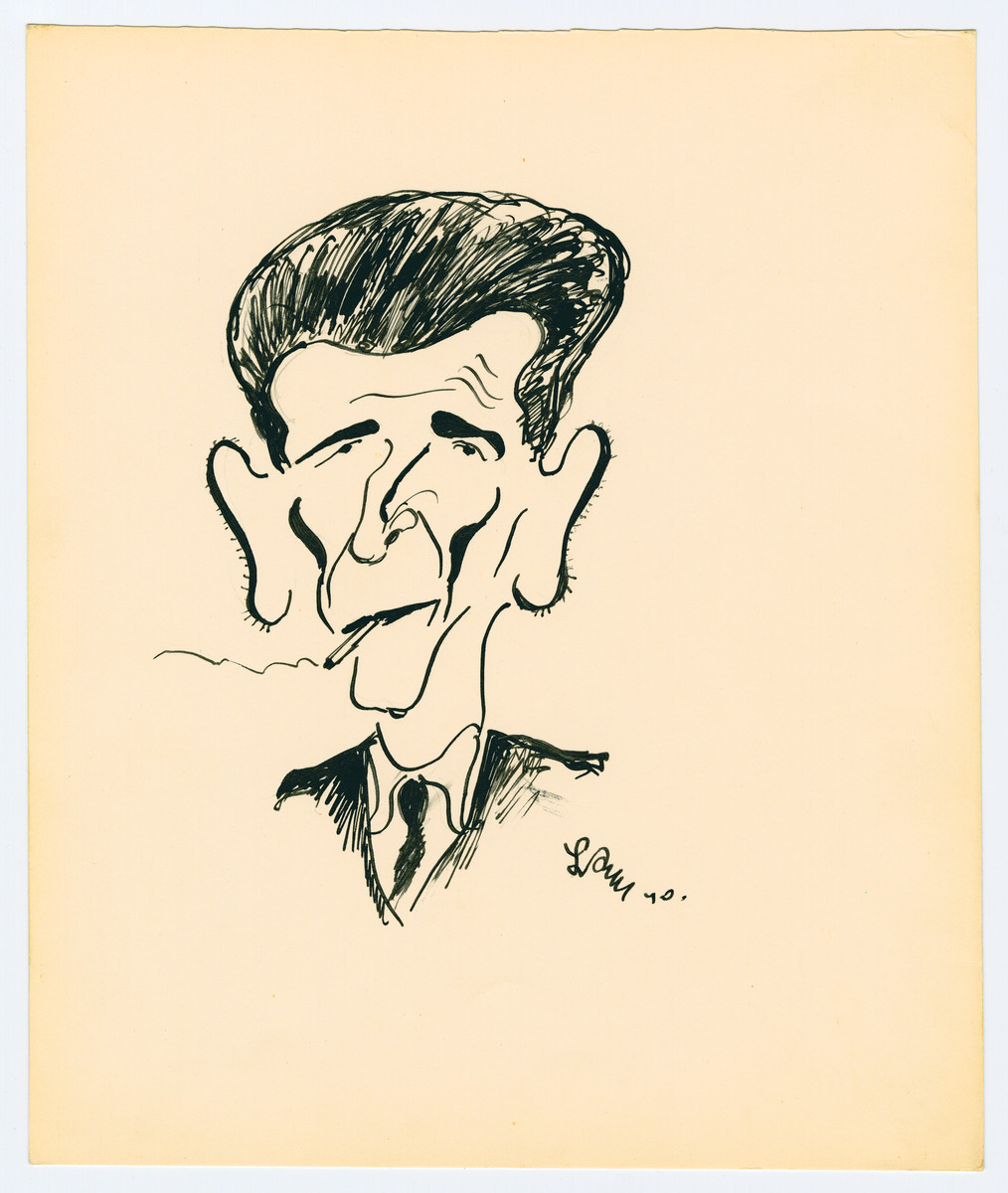 "Caricature by Lutek Orenbach of Krazik W, son of the Estonian consul.    Lutek notes ""the biggest braggart in Tomaszow."""