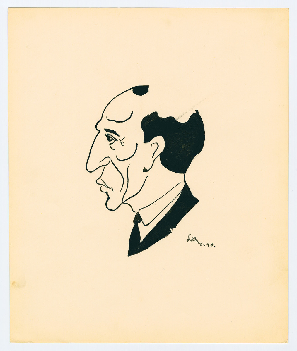 Caricature by Lutek Orenbach of his father.