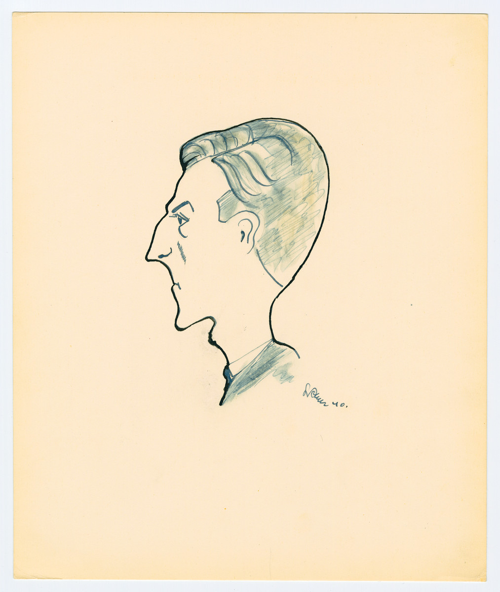 "Caricature by Lutek Orenbach of Sewek R.   Lutek notes to Edith ""you have a photo of him."""