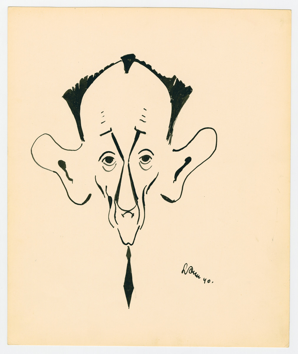 Caricature by Lutek Orenbach of Uncle Jacob.