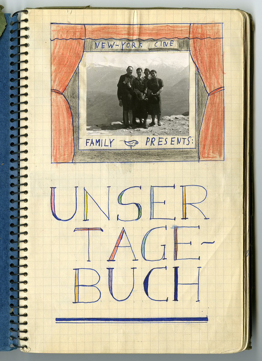 Cover page of the diary of Hans Vogel tracing the family's journey from Germany through France and eventual immigration to the United States.
